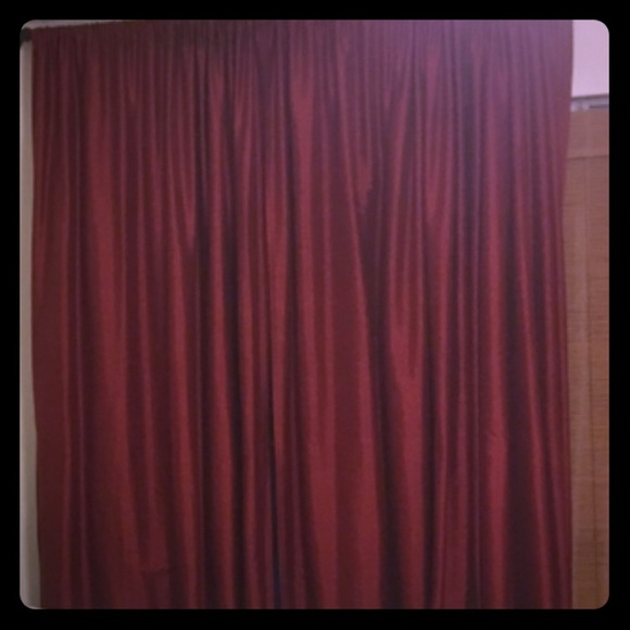 Pottery Barn Silk Dupioni Red Curtain Panels